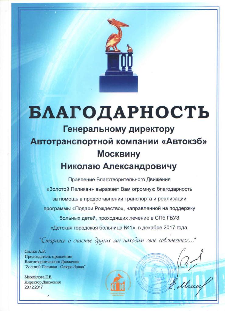 благодарность от Михайловой Е.В. от 20.12.17